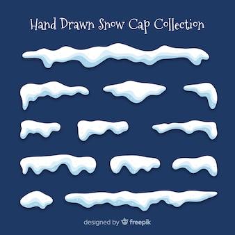 Colección de capas de nieve dibujadas a mano
