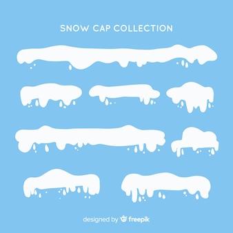 Colección de capas de nieve en diseño plano
