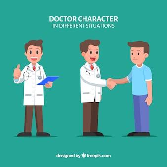 Colección de caracteres de doctores con paciente