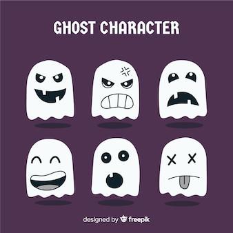 Colección de caracteres de fantasmas de halloween