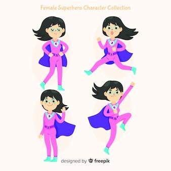 Colección de caracteres femeninos de superheroes