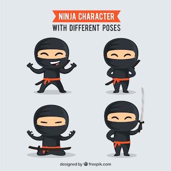 Colección de caracteres de guerrero ninja