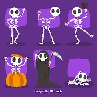 Colección de caracteres de halloween en estilo de dibujo animado