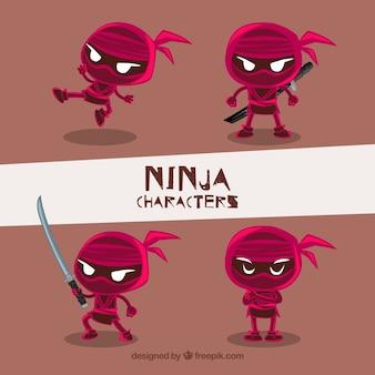 Colección de caracteres de ninja rojos