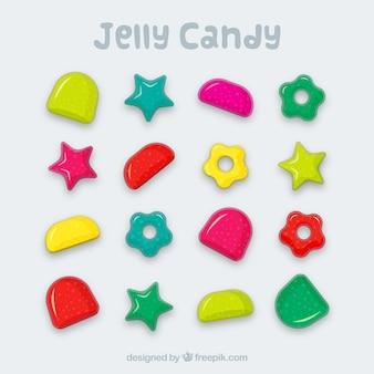 Colección de caramelos deliciosos en estilo plano