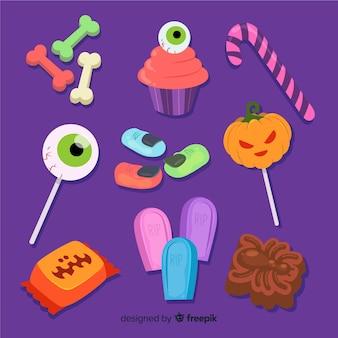 Colección de caramelos de halloween dibujados a mano