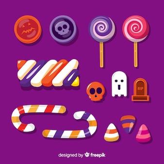 Colección de caramelos de halloween en diseño plano