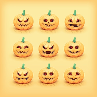 Colección de caras de calabaza de halloween talladas. ilustración