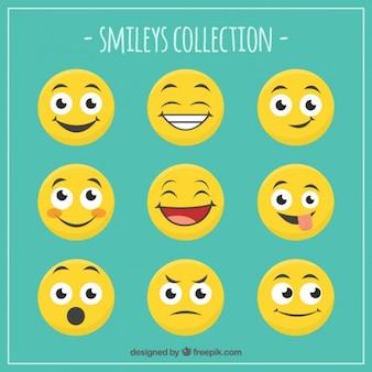 Colección de caras divertidas sonrientes