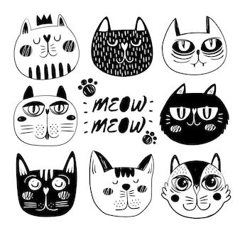 Colección de caras de gatos graciosos