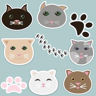 Colección de caras de gatos