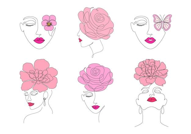 Colección de caras de mujeres en estilo de dibujo en línea sobre fondo blanco.