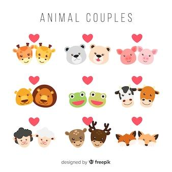 Colección caras de parejas de animales san valentín