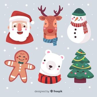 Colección caras personajes navidad dibujadas a mano