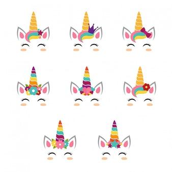 Colección de caras unicornio