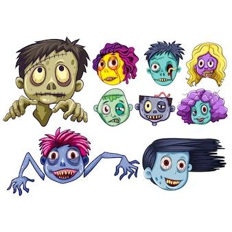 Colección de caras de zombies