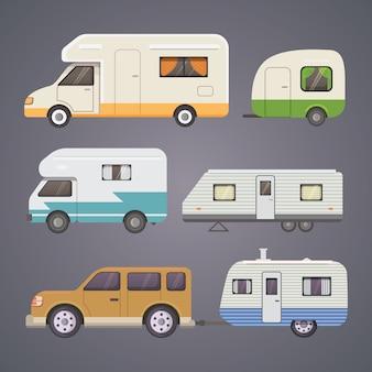 Colección de caravanas retro. caravanas de remolques de automóviles. turismo.