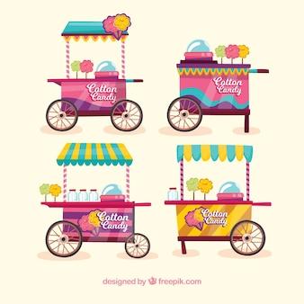 Colección de carritos de algodón de azúcar