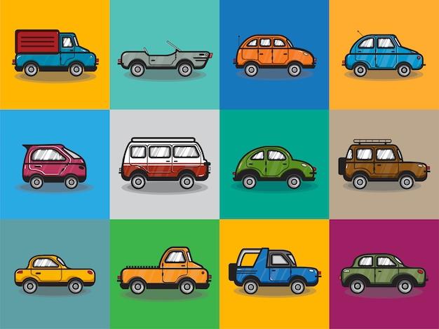 Colección de carros y camiones de ilustración.