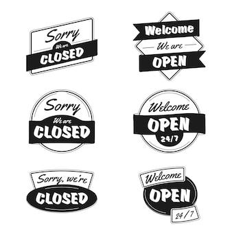 Colección de carteles abiertos y cerrados dibujados a mano