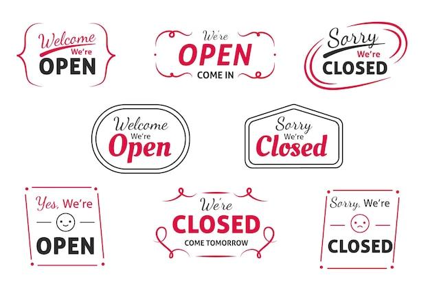 Colección de carteles abiertos y cerrados