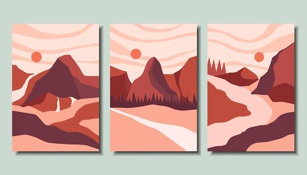 Colección de carteles abstractos con un paisaje de arte moderno