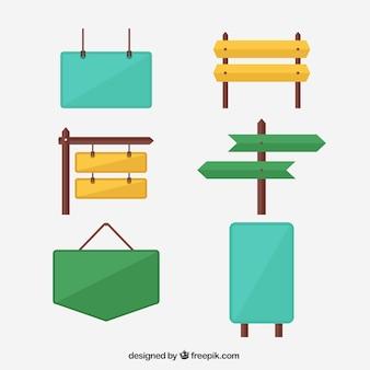 Colección de carteles de colores en diseño plano
