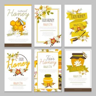 Colección de carteles dibujados a mano de miel