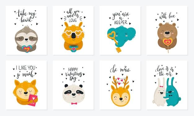 Colección de carteles de dibujo a mano vectorial con animales lindos y lemas doodle ilustración