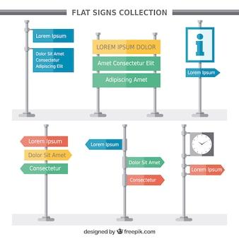 Colección de carteles de direcciones en diseño plano