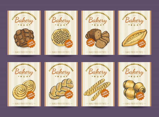 Colección de carteles con diversos productos de panadería.