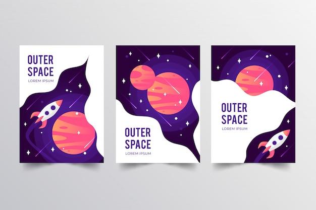 Colección de carteles del espacio exterior.