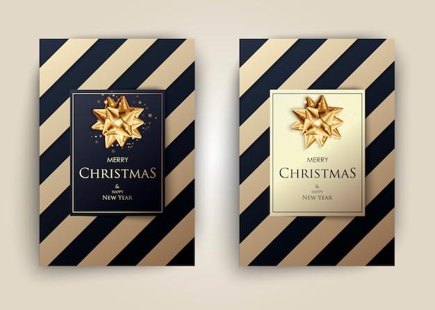 Colección de carteles de feliz navidad con rayas
