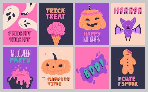 Colección de carteles de fiesta de halloween, invitación o tarjetas de felicitación con letras de caligrafía manuscrita. símbolos tradicionales de vacaciones de octubre dibujados a mano divertidos. plantillas vectoriales de frases y citas
