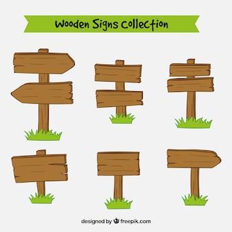 Colección de carteles hechos de madera