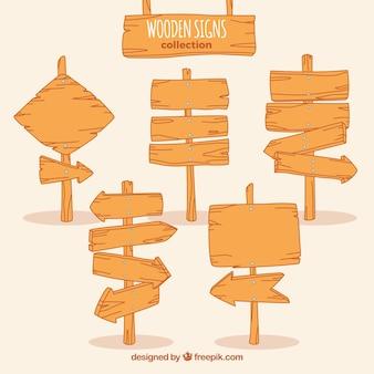 Colección de carteles de madera de dirección