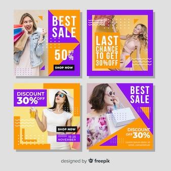 Colección de carteles de moda femenina en instagram