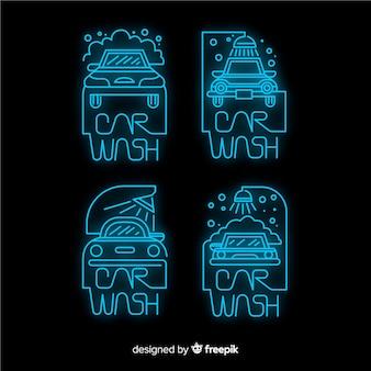 Colección carteles neón lavado de coches