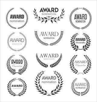 Colección de carteles de nominación de premios con corona de laurel