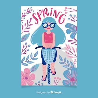 Colección de carteles de primavera dibujados a mano