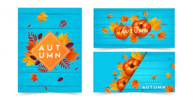 Colección de carteles de rebajas de otoño