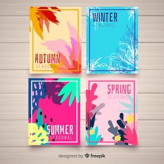 Colección de carteles de temporada dibujados a mano.