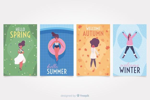 Colección de carteles de temporada dibujados a mano