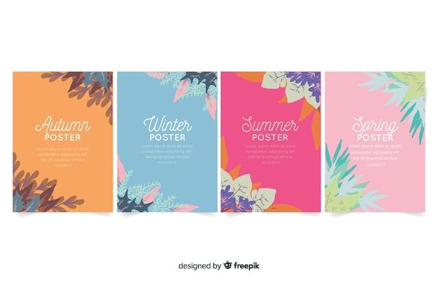 Colección de carteles de temporada en estilo de acuarela