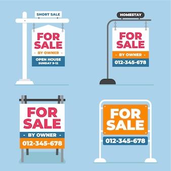 Colección de carteles de venta inmobiliaria.