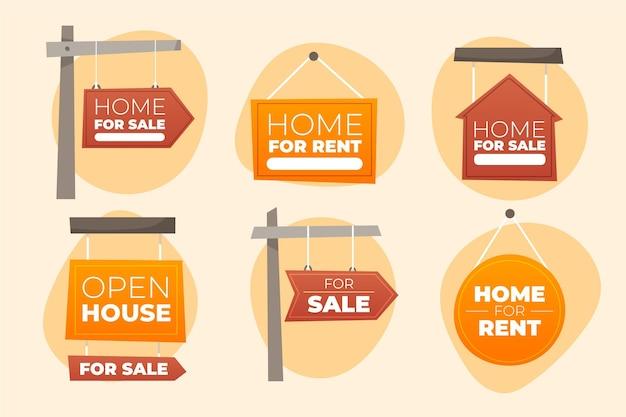 Colección de carteles de venta inmobiliaria vector gratuito