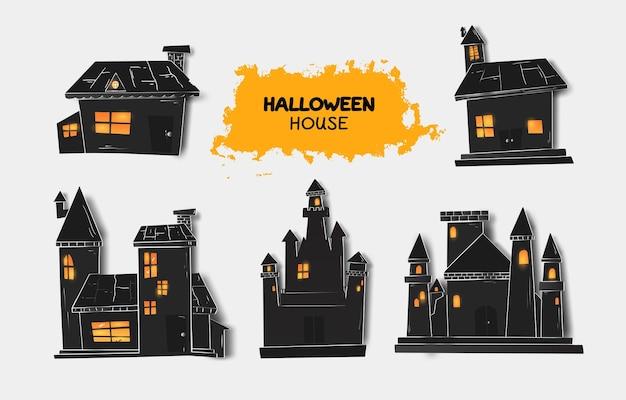 Colección de casa de halloween para celebración, plantilla y decoración