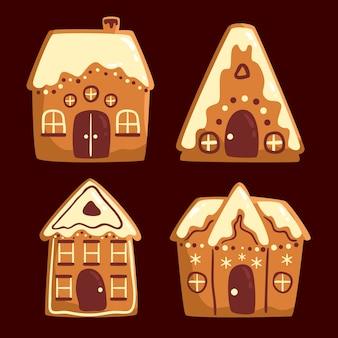 Colección de casa de pan de jengibre dibujada a mano