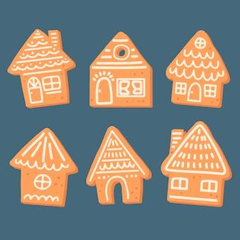 Colección de casa de pan de jengibre dibujado a mano