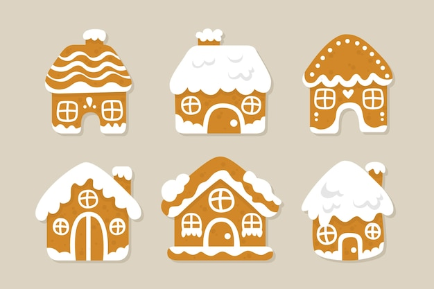 Colección de casa de pan de jengibre de diseño plano